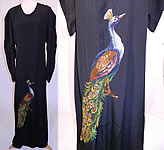 1940s Vintage Black Silk Crepe Peacock Embroidered Needlepoint Maxi Dress Gown
