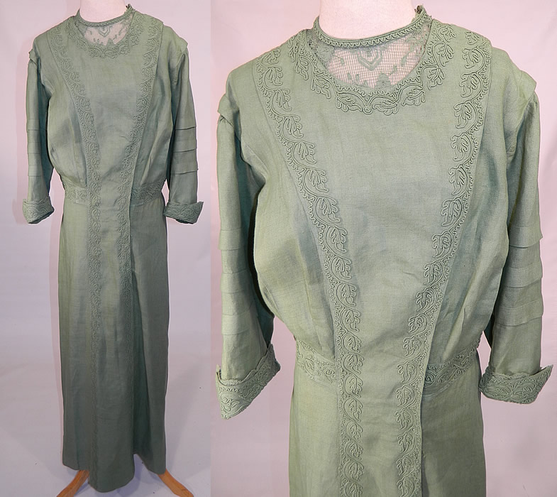 Edwardian Sage Green Linen Soutache Embroidered Grape Leaf Dress. This exquisite antique Edwardian era sage green linen soutache embroidered grape leaf dress dates from 1910.
