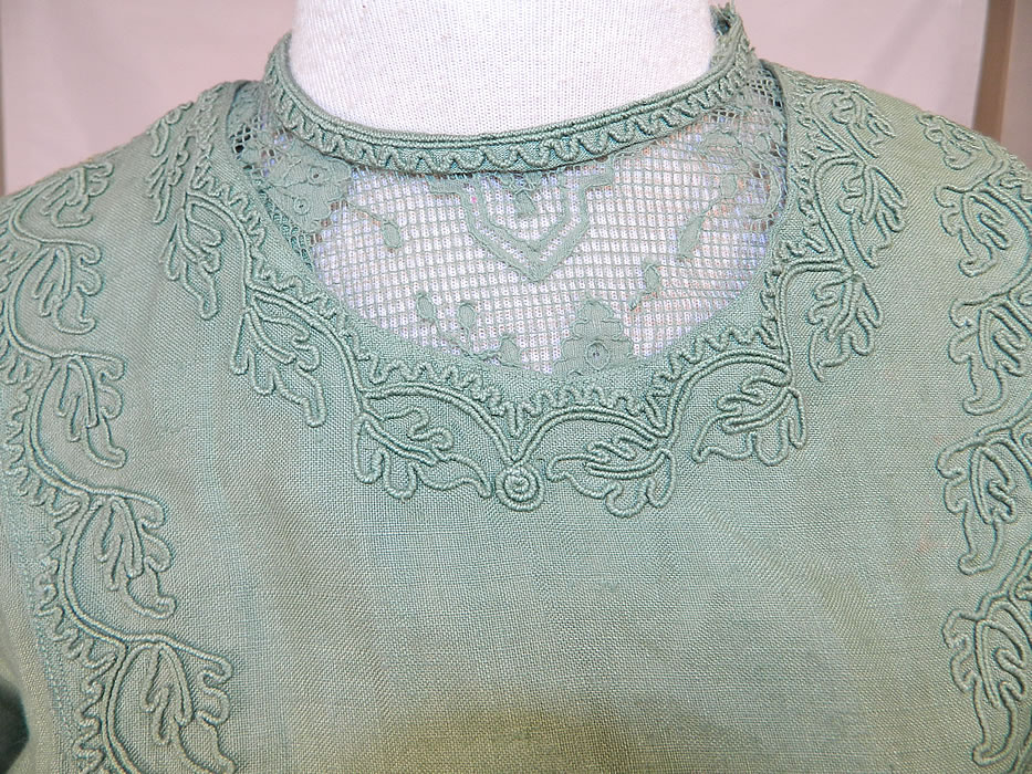 Edwardian Sage Green Linen Soutache Embroidered Grape Leaf Dress. It is made of a sage green color fine quality linen fabric, with soutache embroidery work and filet lace trim neckline inserts done in a grape leaf design pattern.