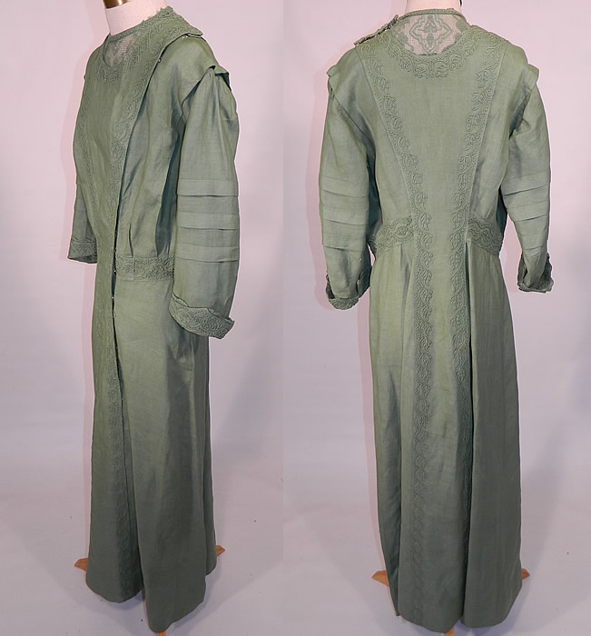 Edwardian Sage Green Linen Soutache Embroidered Grape Leaf Dress. This gorgeous green garden tea party summer dress is a long floor length, with a front and back plait pinafore style top, 3/4 length pleated sleeves with rolled cuffs and hook closures along the side front opening.
