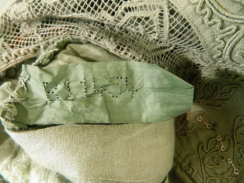 Edwardian Sage Green Linen Soutache Embroidered Grape Leaf Dress. This is truly an extraordinary and rare piece of wearable antique textile art!