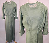 Edwardian Sage Green Linen Soutache Embroidered Grape Leaf Dress