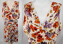 Vintage Lilacs & Pansies Floral Print Velvet Drop Waist Dress Slip Blouse