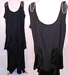 Vintage Art Deco Black Silk Crepe Ruffle Rhinestone Beaded Flapper Dress Gown