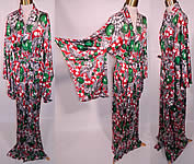 Vintage University Sport Wear Hawaii Apple Cherry Print Rayon Belted Kimono Robe