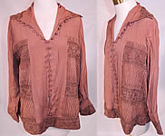 Vintage Art Deco Brown Silk Gold Metallic Embroidered Ethnic Flapper Blouse Shirt