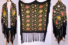 Antique Vintage Black Silk Floral Embroidered Flapper Boho Piano Shawl Scarf