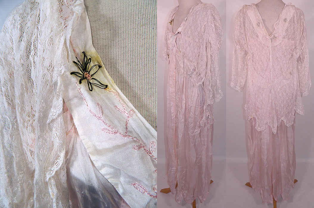 Edwardian Titanic Pink Silk Smocking White Lace Peignoir