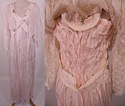 Edwardian Titanic Pink Silk Smocking White Lace Peignoir Negligee Nightgown Robe