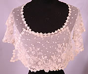 Victorian Antique Shamrock Limerick Lace Tambour Embroidery Trim Shawl Collar