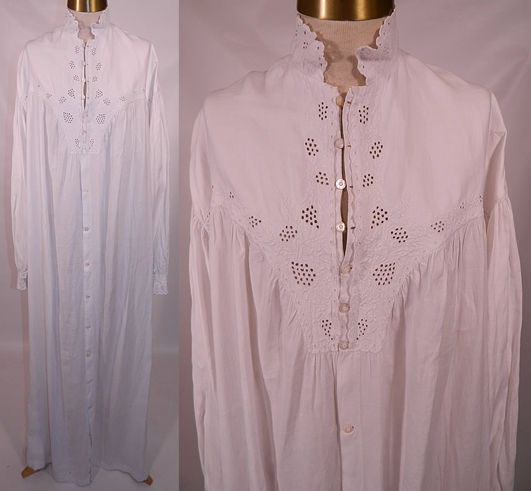 Victorian Broderie Anglaise Eyelet Embroidered Whitework Linen Nightgown  Dress 0133cc8f3