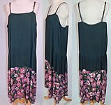 1920s Vintage Green Silk Pink Sequin Beaded Floral Drop Waist Flapper Dress Slip