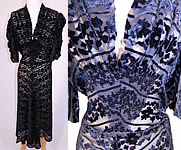 1930s Vintage Black Floral Burnout Voided Velvet Silk Smocking Bias Cut Dress