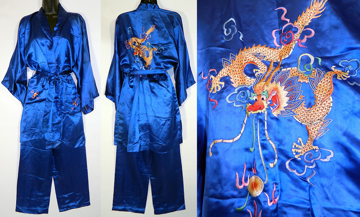 9c955cb2d0 Vintage Peacock Blue Silk Hand Embroidered Chinese Dragon Pajamas Robe Pants