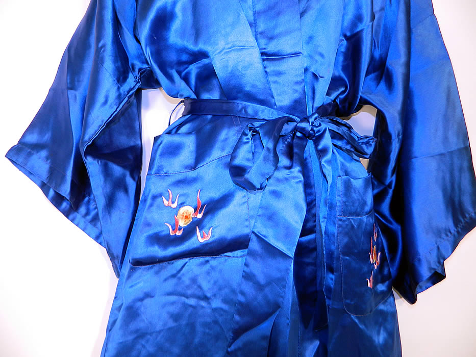 1ded6cb135 Vintage Peacock Blue Silk Hand Embroidered Chinese Dragon Pajamas Robe Pants  This sensational two piece pajamas