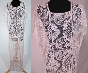 1920s Vintage Cream Crochet Filet Lace Belted Drop Waist Boho Maxi Dress