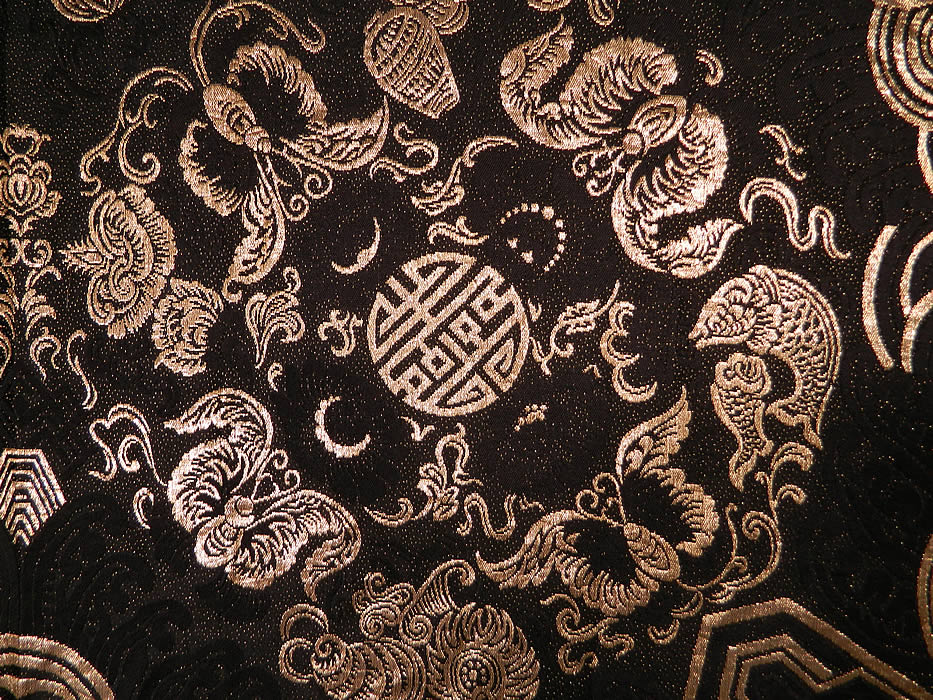 Vintage Black Silk Gold Lam 233 Lame Chinese Style Flapper