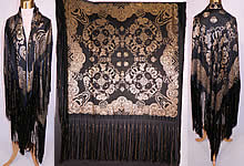 Antique Vintage Black Silk Gold Lamé Lame Chinese Style Flapper Piano Shawl