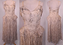 Vintage White Net Gold Lamé Lame Embroidered Pannier Peplum Skirt Gown Dress