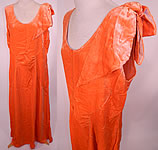 1930s Vintage Orange Silk Velvet Bias Cut Evening Gown Dress Large Size
