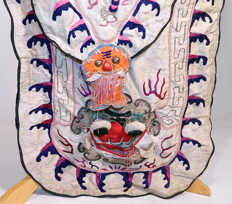 Antique Chinese Dragon Silk Embroidered Peking Opera