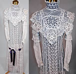 Edwardian Belle Epoque White Mixed Lace Purple Ribbon Wedding Gown Dress