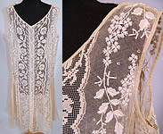 Vintage Embroidered French Knot Net Irish Crochet Filet Lace Chemise Drop Waist Dress