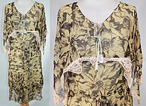 Vintage 1920s Yellow & Black Floral Print Silk Chiffon Shawl Collar Belted Dress