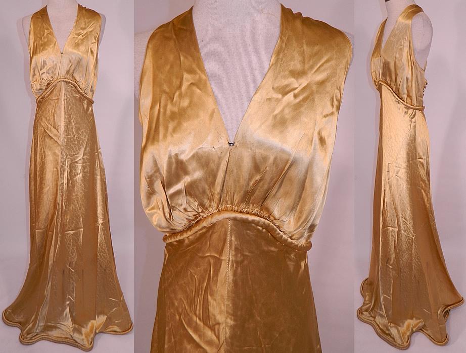 Vintage Hollywood Glam Gold Silk Satin Sexy Bias Cut Dress