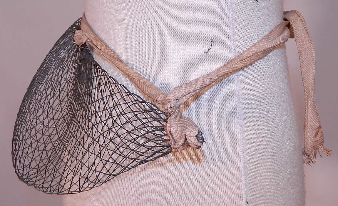 Victorian Shaped Pillows : Victorian Antique Woven Wire Mesh Pillow Crescent Crinolette Bustle Pad Support