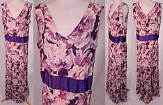 1930s Vintage Purple Peony Print Floral Silk Bias Cut Slip Dress