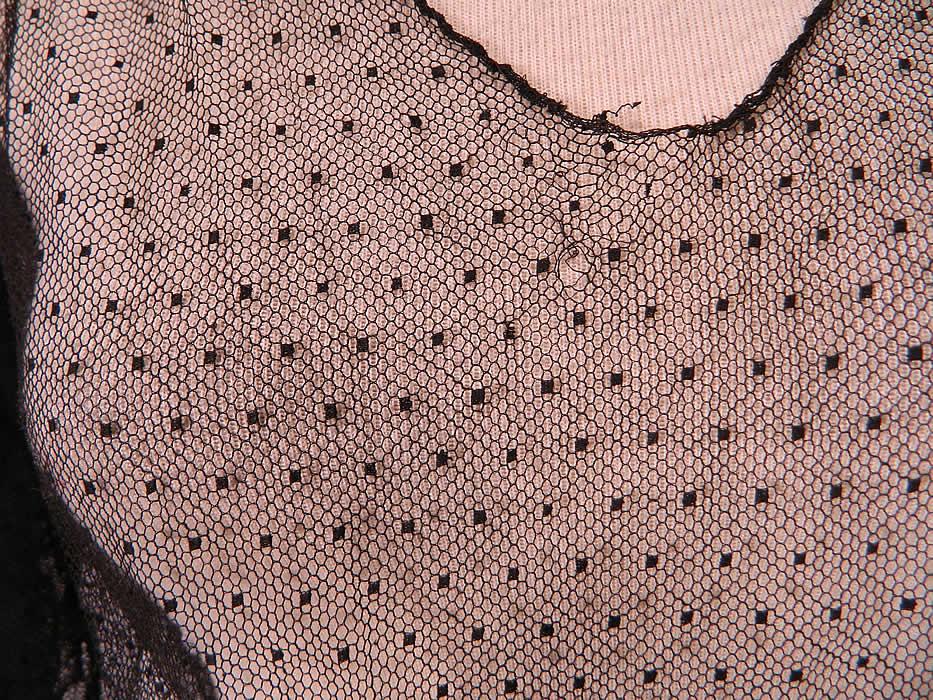 Vintage Black Swiss Polka Dot Net Sheer Bias Cut Dress Gown