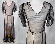 1930s Vintage Black Swiss Polka Dot Net Sheer Bias Cut Dress Gown