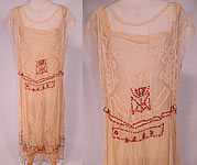 Vintage Cream Crochet Filet Lace Wood Beaded Rosette Drop Waist Flapper Dress