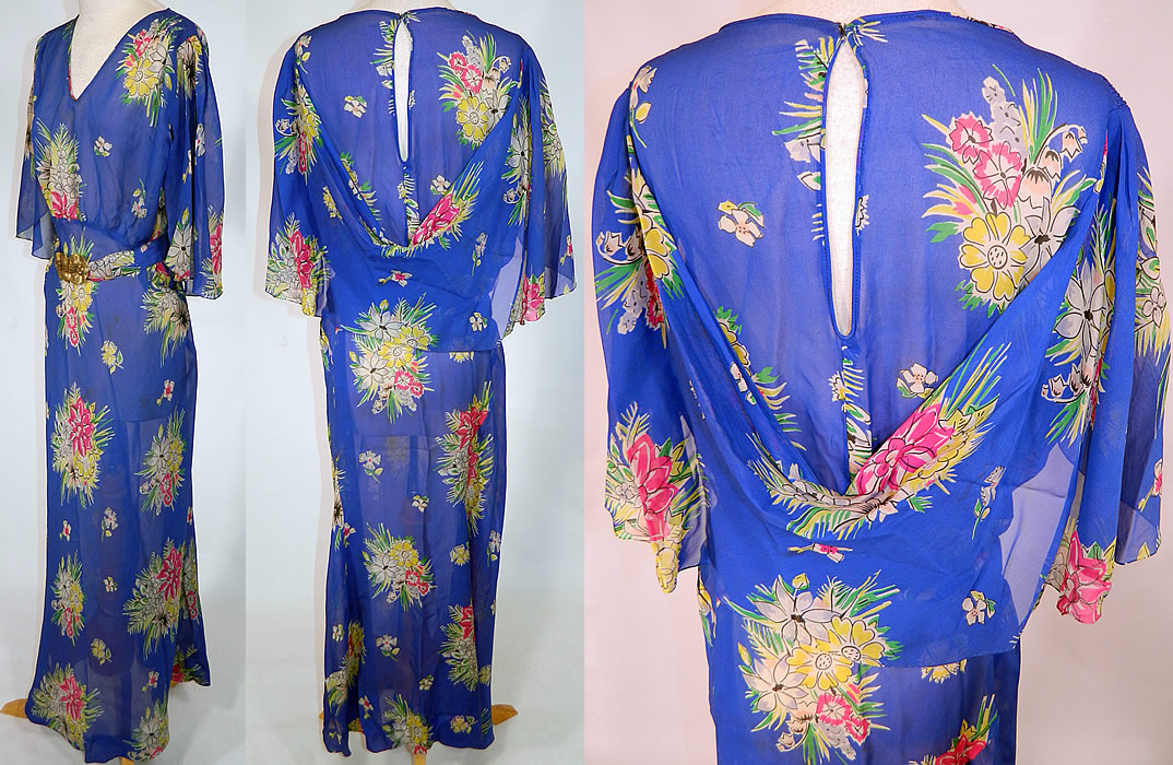 Vintage Blue Silk Chiffon Floral Bouquet Print Belted Bias