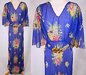 Vintage 1930s Blue Silk Chiffon Floral Bouquet Print Belted Bias Cut Dress