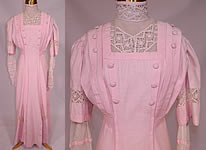 Edwardian Vintage Pink Linen White Lace Button Trim Tea Dress Summer Garden Gown