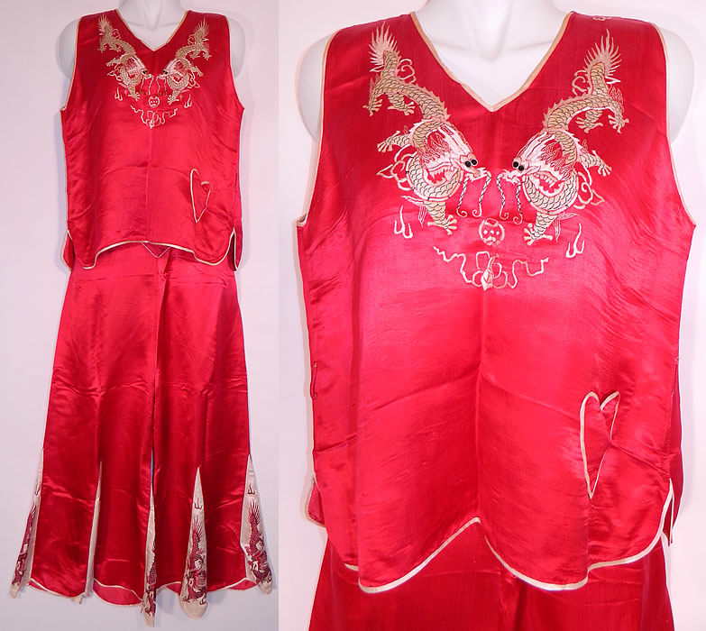 Vintage Red   White Silk Embroidered Asian Chinese Dragon Pajamas d4875f42a