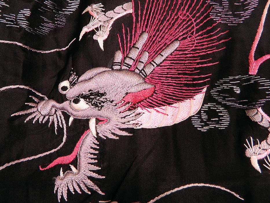 Edwardian Vintage Japanese Dragon Embroidered Black Silk