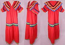 Vintage Seminole Native American Indian Sawtooth Patchwork Colorful Boho Maxi Dress