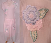 Vintage 1930s Pastel Pink & Blue Organdy Floral Embroidered Applique Sheer Party Dress