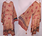 Antique 19th Century Nepalese Nepal Hindu Lakhe Mask Dance Dress Kimono Sleeve