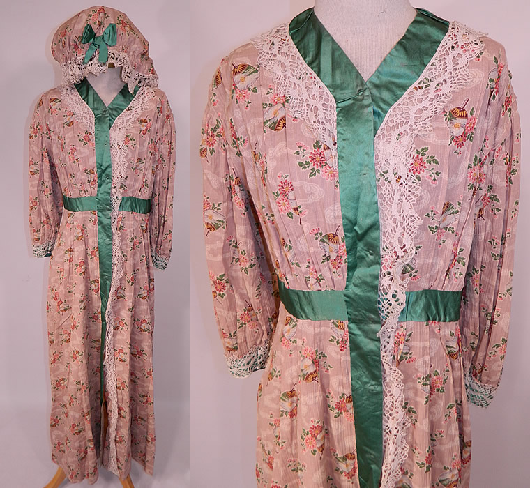 Edwardian Art Nouveau Japanese Floral Fan Print Dressing Gown Robe ...