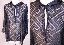 1920s Vintage Art Deco Greek Key Meander Black Silk Net Lace Beaded Flapper Blouse