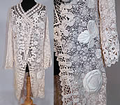 Edwardian Antique White Irish Crochet Lace Embroidered Long Coat Tail Jacket