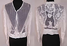 Vintage Edwardian White Net Princess Tape Lace Applique Embroidered Blouse Shirt