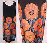 1920s Vintage Art Deco Black Silk Gold Lamé Lame Orange Sunflower Flapper Dress