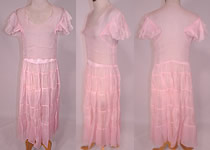 1930s Vintage Pink Pastel Pink Organdy White Embroidered Star Applique Party Dress