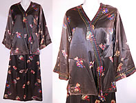 1930s Vintage Black Silk Satin Flower Print Pajamas Robe Jacket Pants Lounge Set