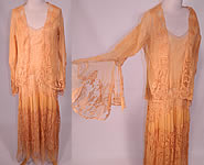 1920s Vintage Peach Net Battenburg Lace Drop Waist Dress Silk Slip & Jacket Outfit